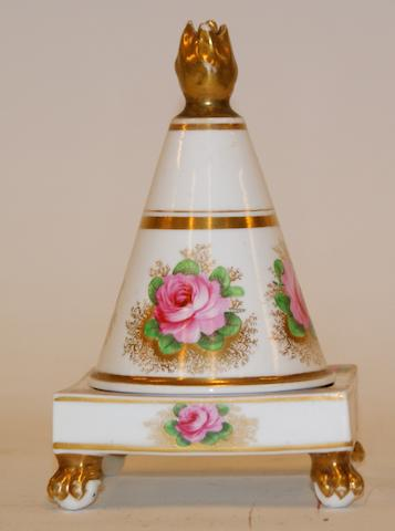 A Spode porcelain pastille burner painted with pink roses, circa 1820;