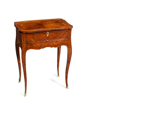 A French Louis XV kingwood and satiné parquetry table ambulante