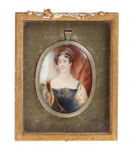 Circle of John Linnell (British, 1792-1882) A Lady, wearing dark blue décolleté dress edged with gold and gemstones and with pale yellow embroidered sleeves, white chemise, a dark blue, green and amber stole draped over her right shoulder, pearl necklace, her hair upswept, dressed with strings of pearls and sapphires, her curls framing her face