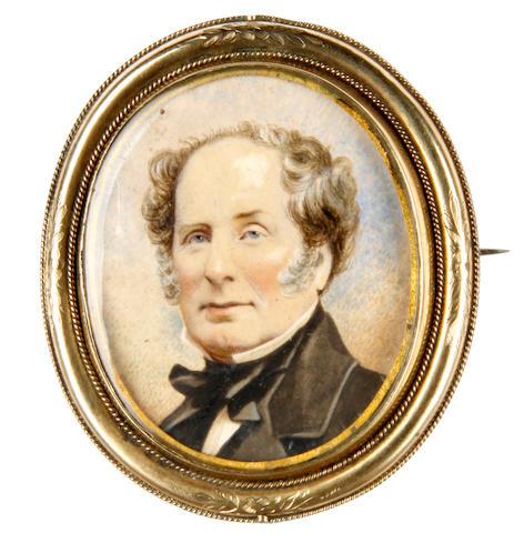 Irish School, circa 1840 A Gentleman, wearing black coat, white chemise, black stock and tied cravat