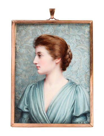 Louise Howland King Cox (American, 1865-1945) A Lady, in profile to the left before an 'Arts and Crafts' background, wearing duck egg blue draped dress with bell sleeves, her brown hair upswept and plaited into a knot at the back of her head