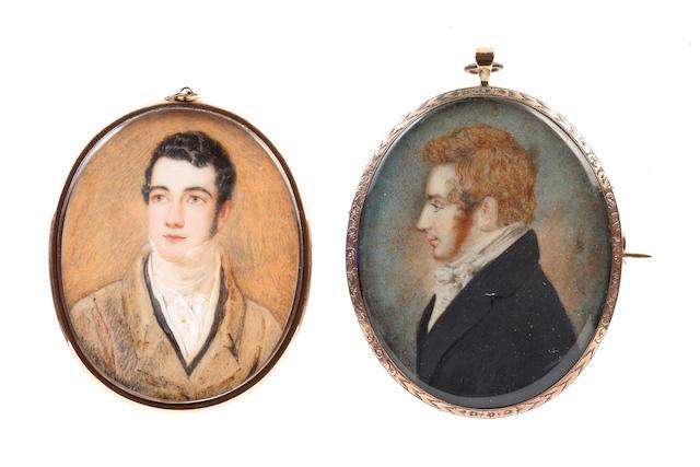 Attributed to Samuel John Stump (British, 1778-1863) A Gentleman, wearing black coat (faded), black waistcoat, white chemise, stock, cravat and gold stickpin