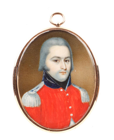 English School, circa 1790 An Officer, wearing red coat with blue standing collar and silver epaulettes, white waistcoat and black stock, his hair powdered