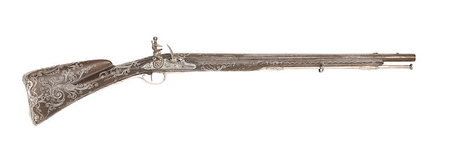 An Unusually Fine And Very Rare French 40-Bore Silver-Mounted Flintlock Sporting Gun For A Child