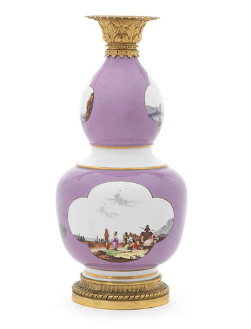 A Meissen double-gourded vase, circa 1740-45