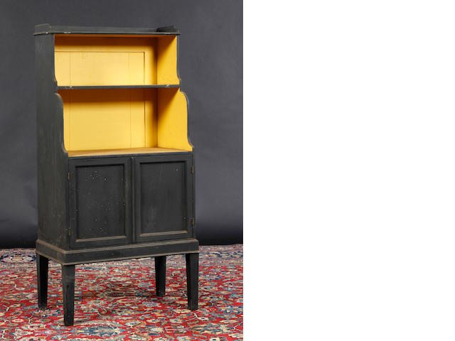 A 19th Century and later painted pine waterfall bookcase