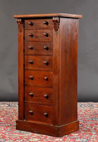A Victorian oak Wellington chest
