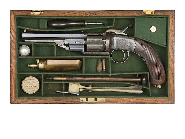 A Cased 54-Bore Six-Shot Single-Action Gas-Sealed Percussion Revolver