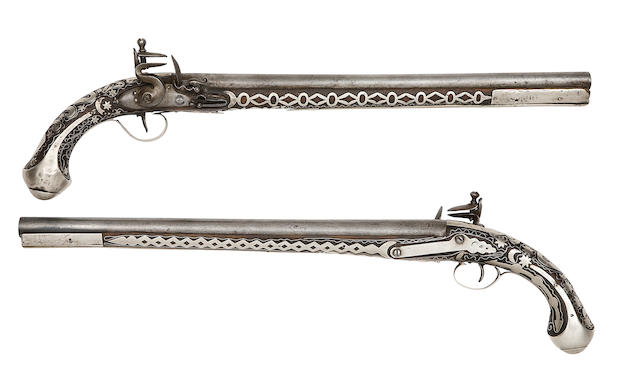 Two Turkish Silver-Mounted Flintlock Holster Pistols
