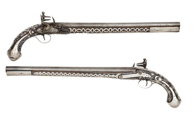 Two Turkish Silver-Mounted Flintlock Holster Pistols