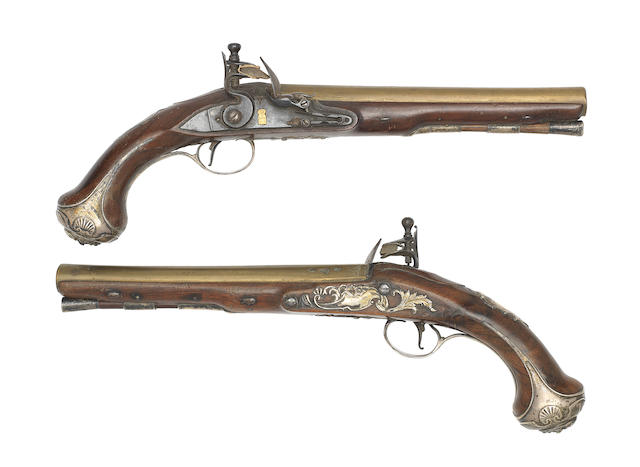 A Fine Pair Of 18-Bore Silver-Mounted Flintlock Holster Pistols