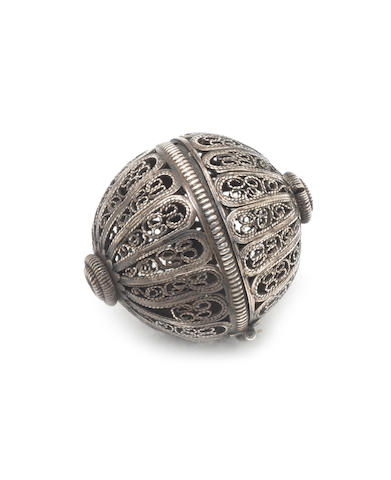 A late 17th/early 18th century  silver filigree pommander apparently unmarked