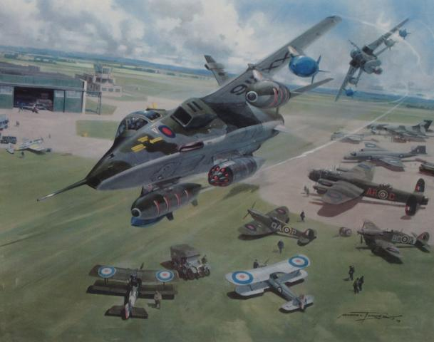 Eighteen prints depicting post-War RAF aircraft,