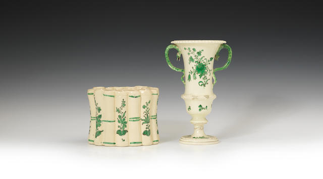 A rare creamware bough pot, a campana vase and a further bough pot, circa 1775-90