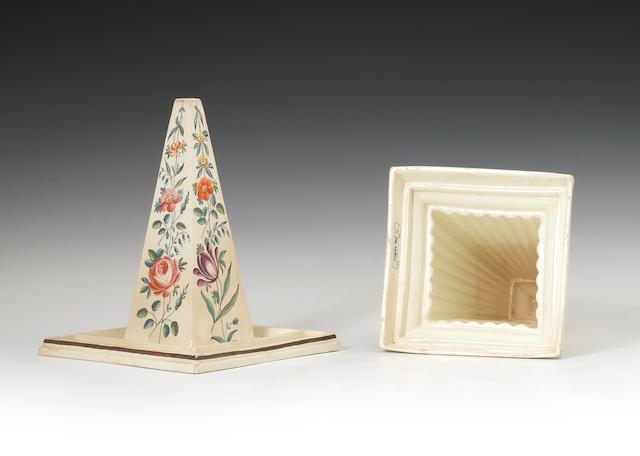 A creamware jelly mould and cover, circa 1781-90