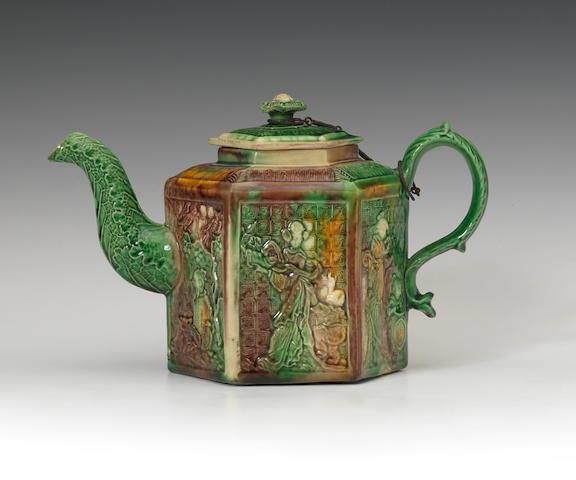 A Whieldon type hexagonal teapot and cover