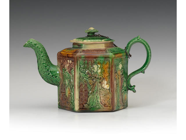 A Staffordshire lead glazed teapot and cover, circa 1765