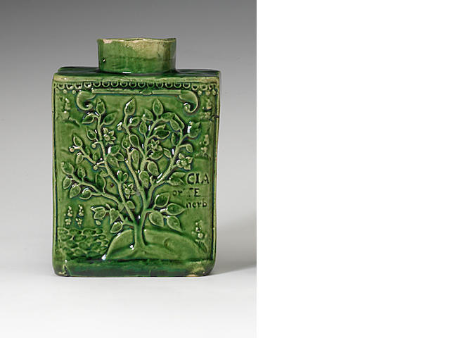 A rare Staffordshire lead glazed green coloured tea canister, circa 1755