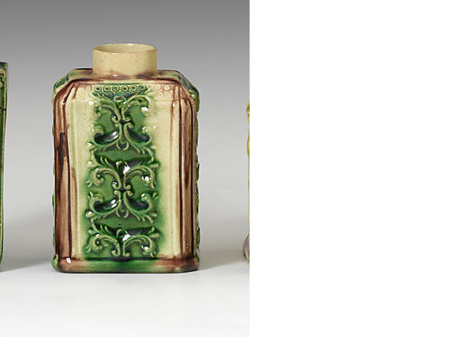 A small Staffordshire lead-glazed tea canister, circa 1755