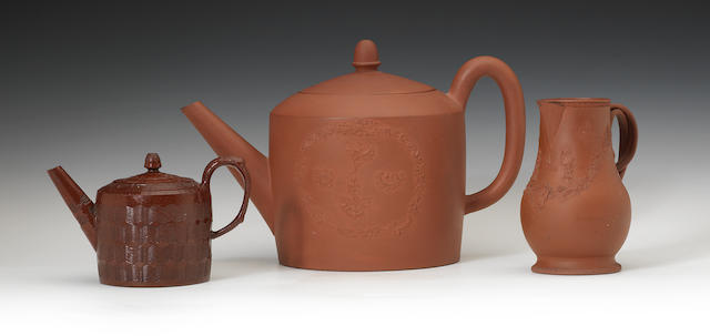 A group of glazed and unglazed redware items, circa 1760-75