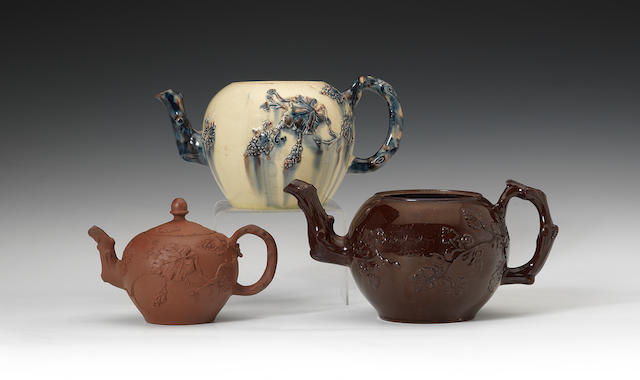 Three Staffordshire teapots and two covers, circa 1750-60