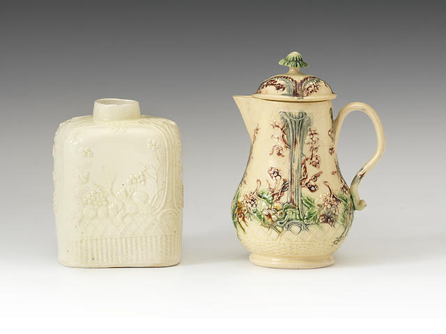 A William Greatbatch jug and cover and a tea caddy, circa 1765