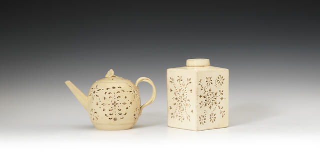 A double walled reticulated tea canister and a teapot, circa 1770