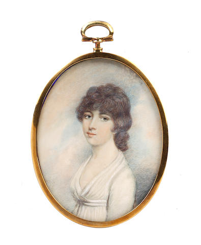 After Andrew Plimer, 19th Century A Lady, wearing white dress, her dark hair tied back
