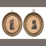Thomas Wheeler (British, active circa 1783-1810) A pair of bust-length silhouettes of a Gentleman and a Lady; the former, in profile to the left, wearing coat, waistcoat, chemise, stock and necktie,  powdered long bob wig; the latter, in profile to the right, wearing dress, fichu, her powdered hair worn in a banging chignon beneath a lace mob cap, the fringe concertinaed and dressed with ribbon