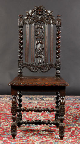 A carved oak chair