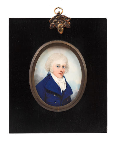 Frederick Buck (Irish, 1771-circa 1840) A Gentleman, wearing dark blue coat, white waistcoat, chemise, stock and cravat, his wig powdered
