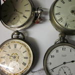 A Victorian silver pair cased verge pocket watch,  by Jn Denton Liverpool, No 738,  (4)