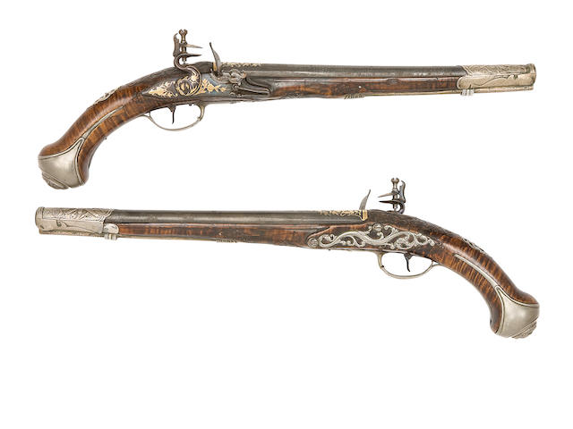 A Pair Of Ottoman 25-Bore Silver-Mounted Flintlock Holster Pistols