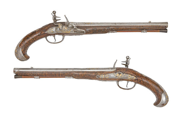 A Fine Pair Of Liège 18-Bore Flintlock Holster Pistols