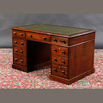 Victorian mahogany twin pedestal writing desk