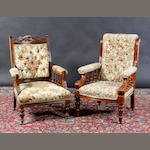 A 19th century mahogany framed gentleman's library armchair