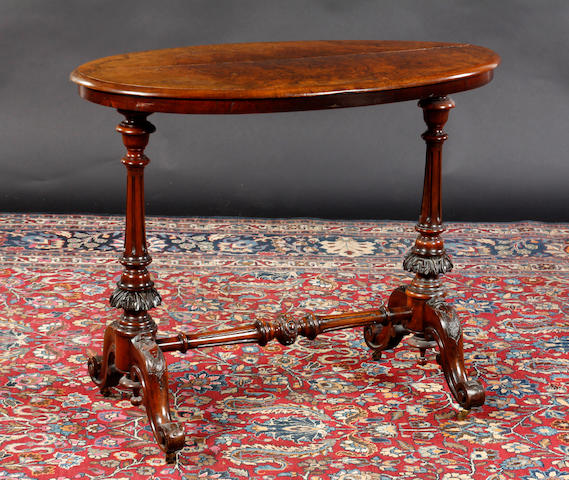 A Victorian burr walnut oval top side table