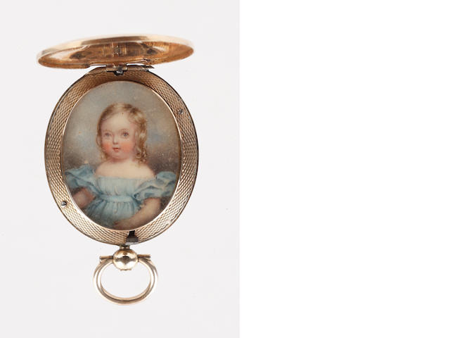English School, circa 1840 A Young Child, wearing pale blue décolleté dress with short bouffant sleeves and matching sash, her blonde hair parted to one side and curled in ringlets framing her face