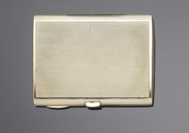 A 9 carat gold cigarette case Birmingham 1929, also incuse retail marked LEIGHTON BURLINGTON ARCADE LONDON