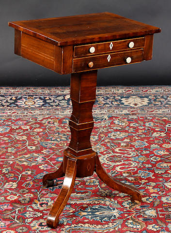 A Regency mahogany work table (possibly lacking drop leaves at top),