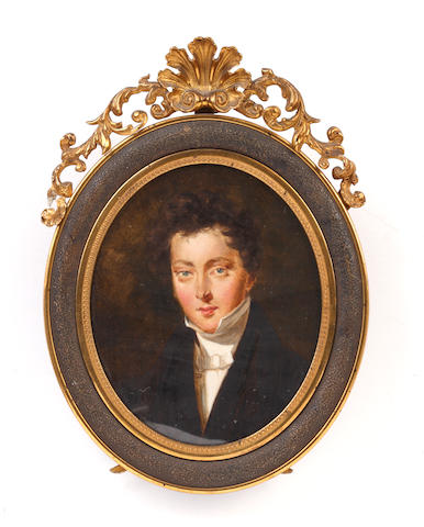 Circle of Simon Jacques Rochard (French, 1788-1872) Charles Alphonse Galignani (1811-1829), wearing black coat, white waistcoat, chemise, stock and knotted necktie