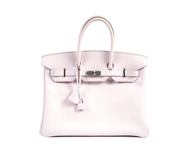 An Hermès pale pink leather Birkin bag,