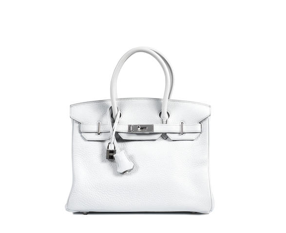 An Hermès pale grey/blue leather Birkin bag,