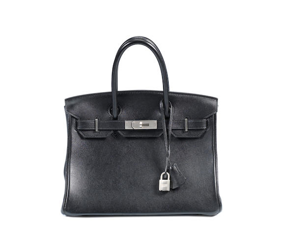 An Hermès black leather Birkin bag with matte hardware,