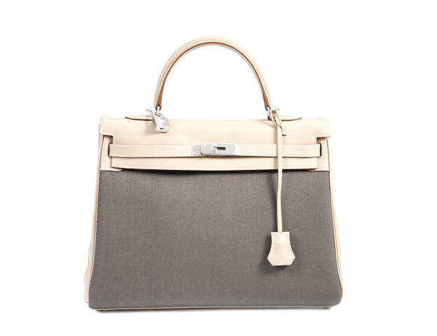 An Hermès argile veauswift and vert gris tissage Kelly bag, 2012