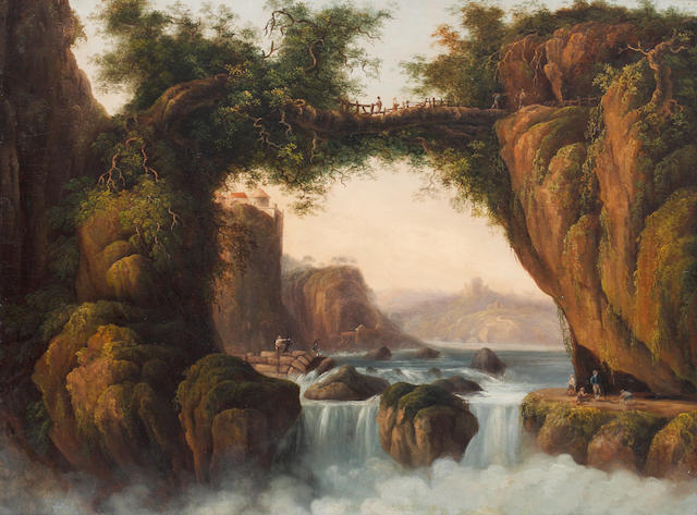 William Abraham Le Mesurier (British, 1785-1845) Figures crossing a bridge in the Rhone valley