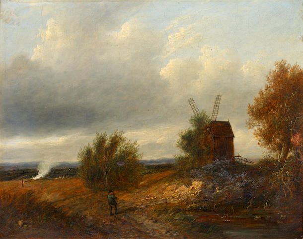 Patrick Nasmyth (Edinburgh 1787-1831 Lambeth) Figure on a country path, a windmill nearby