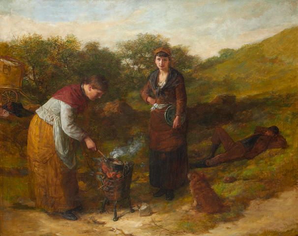 Edward Opie (British, 1810-1894) Travellers around a camp fire