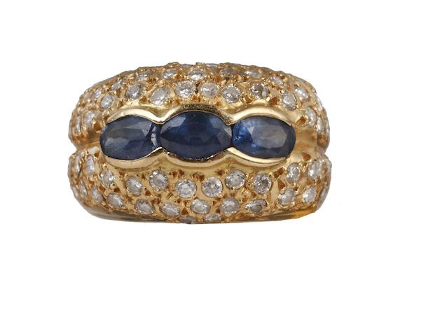 A sapphire and diamond bombé ring