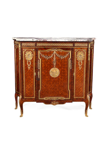 A French late 19th century ormolu and gilt copper mounted kingwood and satiné parquetry meuble à hauteur d'appui